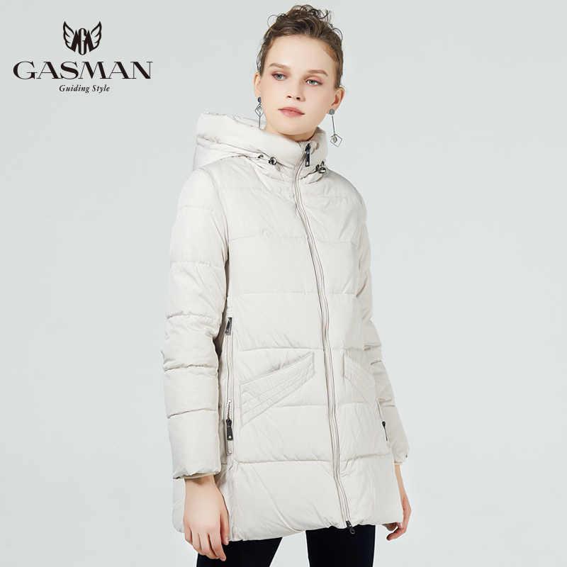 GASMAN 2019 новая зимняя коллекция с капюшоном женские куртки А-образное пальто ветрозащитная Женская мода зимние толстые парки бренд-пуховик