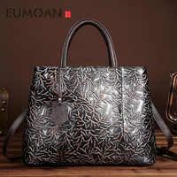 EUMOAN 新手作り革メッセンジャーバッグハンドバッグ袋レトロ色ブラシヘッド層牛革レジャーバッグ