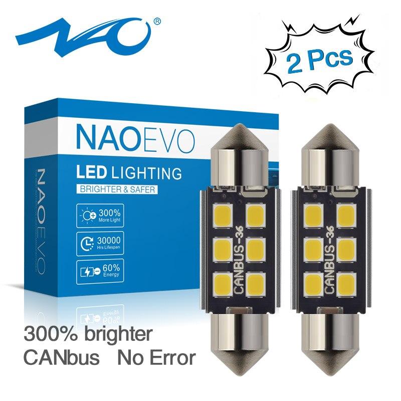 Светодиодная лампа NAO c5w, CANBUS 28 мм, 31, 36, 39, 41, 44 мм, Festoon C10W, светодиодная лампа 2835, 6 SMD, 12 В, лампа для чтения, салона автомобиля, белая, без ошибок