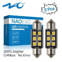 Светодиодная лампа NAO c5w CANBUS, 28 мм, 31, 36, 39, 41, 44 мм, Festoon C10W, 2835, 6 SMD, 12 В, лампа для чтения, светильник для салона автомобиля, белый, без ошибок