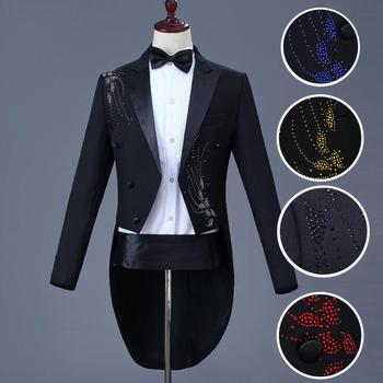 Blazer men Tuxedo suit set with pants men formal suit wedding suits costume singer star style dance stage clothing dress