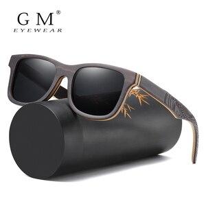 Image 1 - GM spolaryzowane okulary kobiety mężczyźni warstwowa deskorolka drewniana rama kwadratowy styl okulary na okulary damskie w drewnianym pudełku S5832