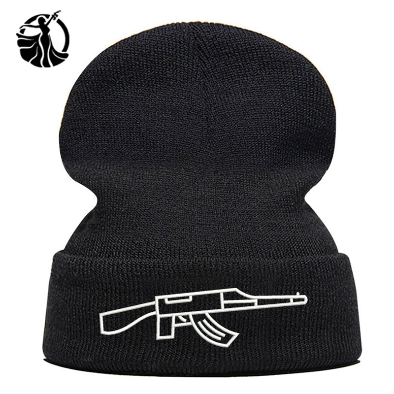 Beanie Hat Skullie Cap Slouchy Winter Embroidery Cool Punk Men Women Teen Street Dance Funny Hip-hop Personalized - Gun AK
