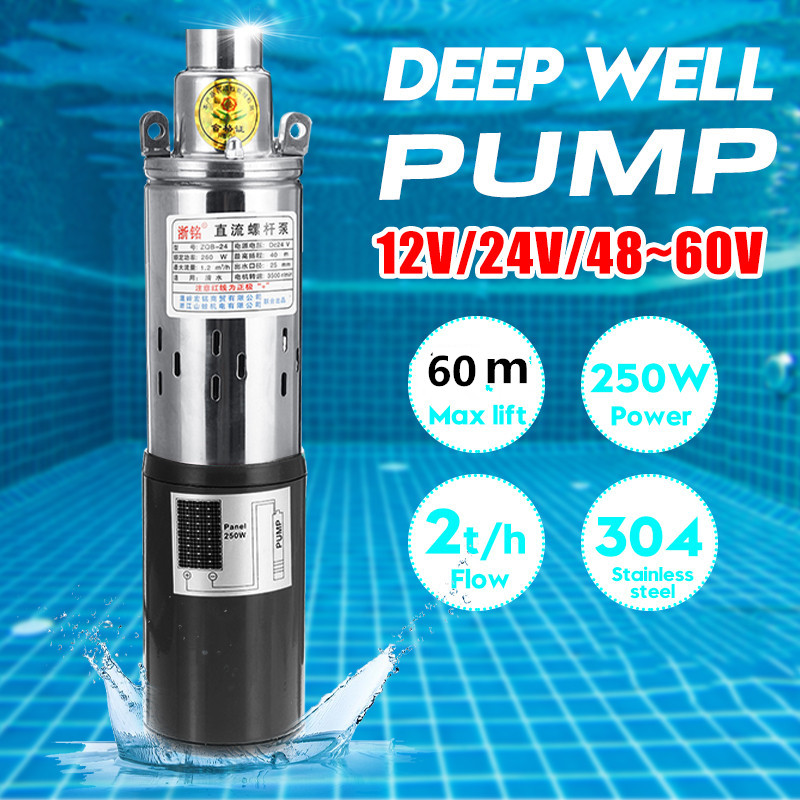 45m 12V Solar Water Pump High Lift 6000L//h Deep Well Pump DC Screw Submersible Pump Agricultural Irrigation Garden Home