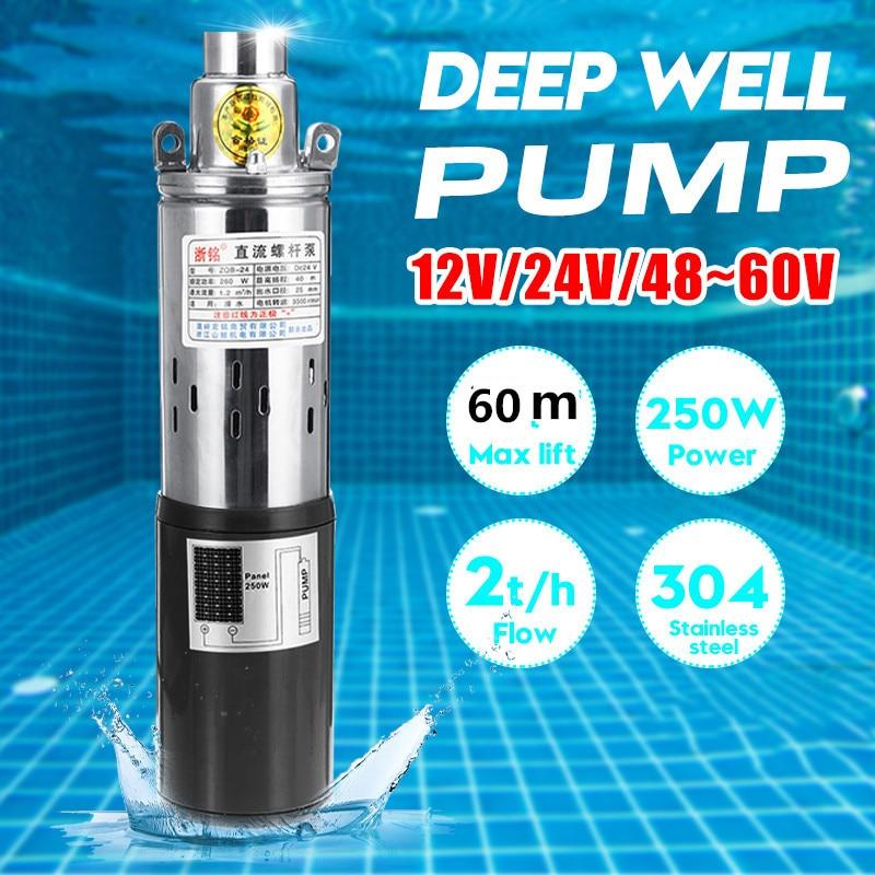 12v/24v/48v alta elevação 60m bomba de água solar de alta pressão poço profundo bomba submersível dc bomba irrigação agrícola jardim casa