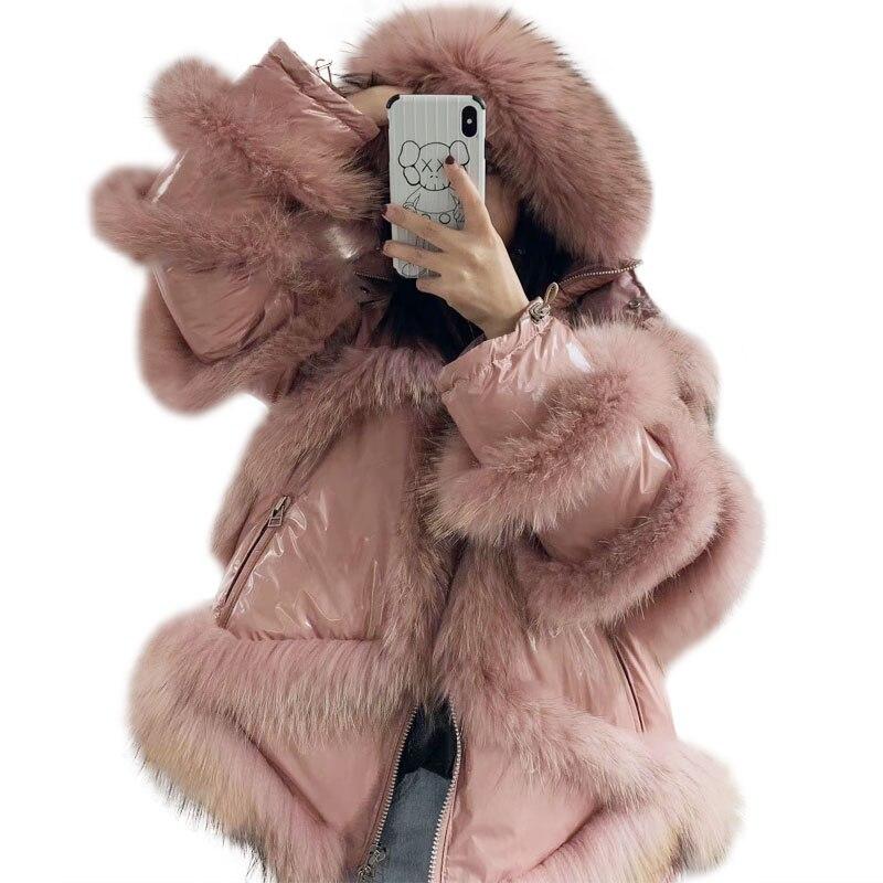 Veste d'hiver femmes blanc canard vers le bas grand col de fourrure à capuche vers le bas manteau fourrure de raton laveur décoration femme surdimensionné vêtements d'extérieur de neige