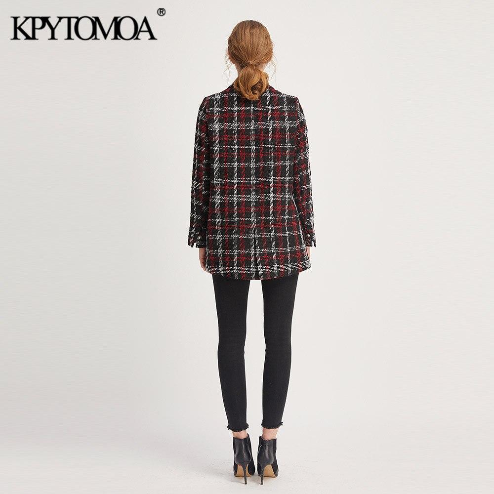 Vintage Stylish Office Lady Plaid Double Breasted Tweed Blazer Coat Women 2019 Fashion Long Sleeve Pockets
