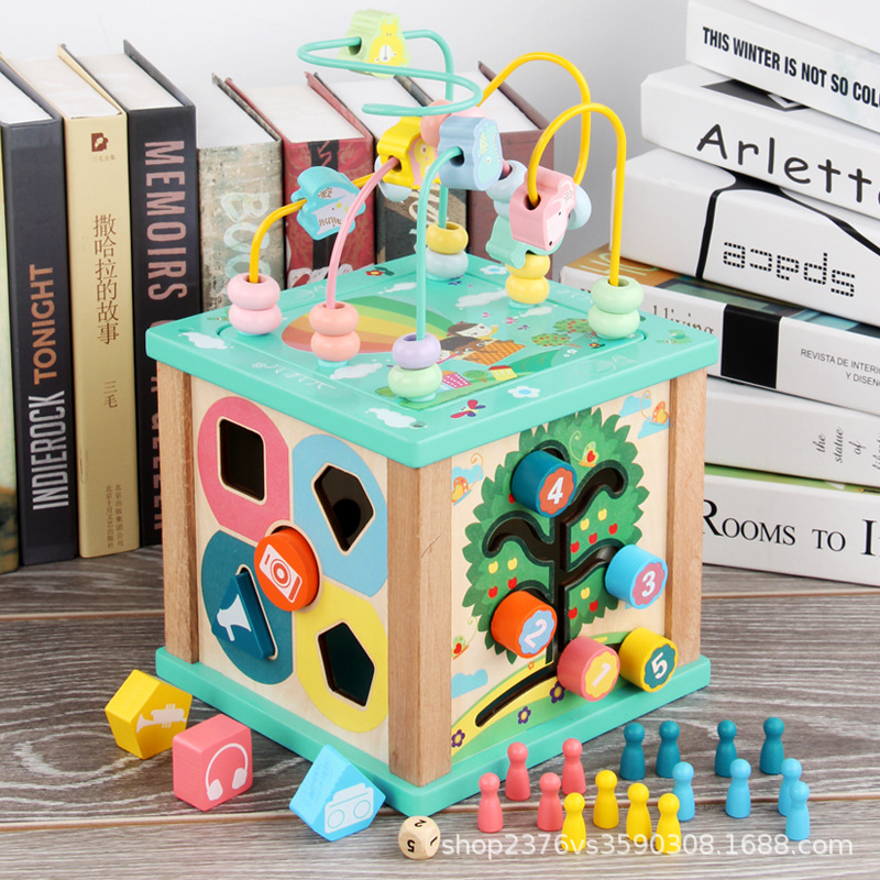 Wooden Multi-functional Bead-stringing Toy Porous Shape Color Cognitive Matching Aeroplane Chess Treasure Chest Parent And Child
