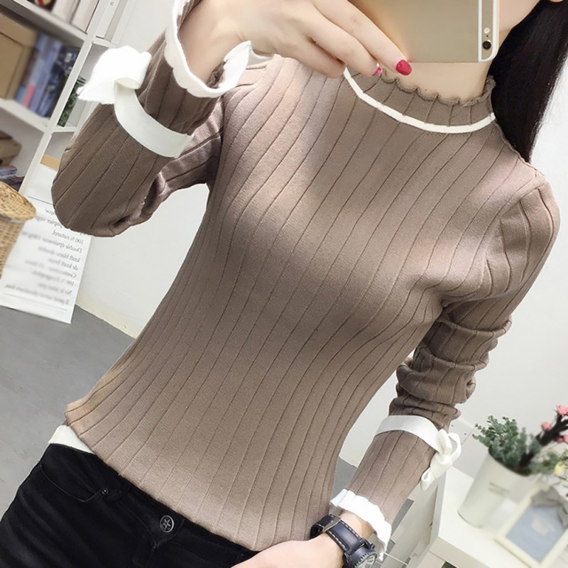 EFINNY Fashion Ladies Knitted Tops Autumn Casual Simple Sweaters Long Trumpet Sleeve Sweater O-Neck Sweet Slim Clothes