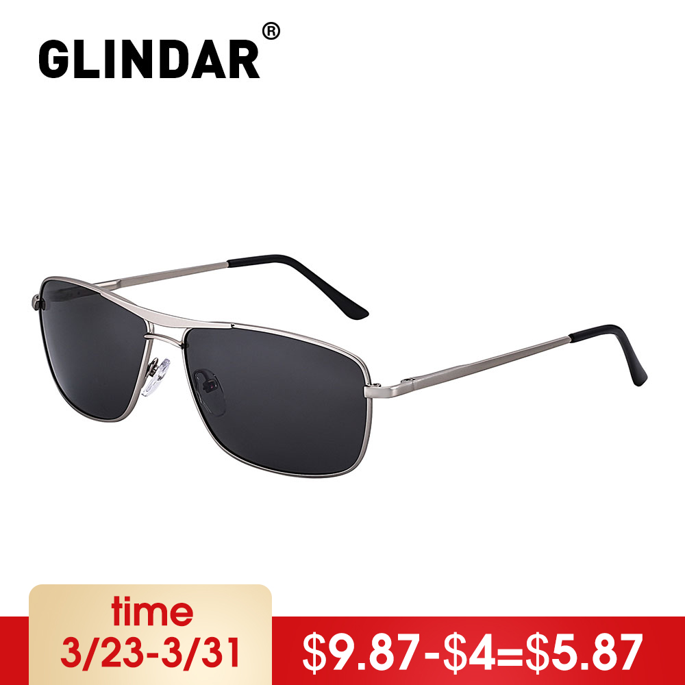 Spring Hinge Men Polarized Sunglasses Narrow Rectangle Metal Frame Driving Sun Glasses
