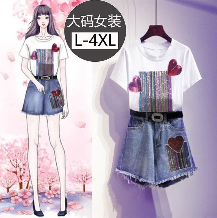 Large Size WOMEN'S Dress Short Sleeve Crew Neck T-shirt Tops Women's Heart Shiny High-waisted Short Tassels Two-Piece Set New St