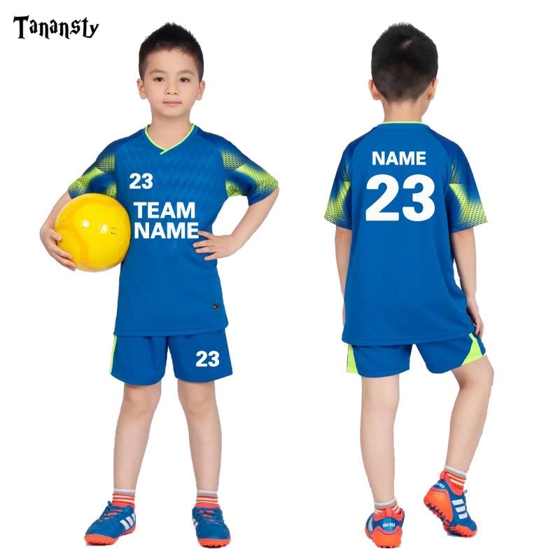 Football Jersey for kids Personalized Football Uniform boy's Soccer Jerseys Set Custom Soccer Uniform Survetement 19/20