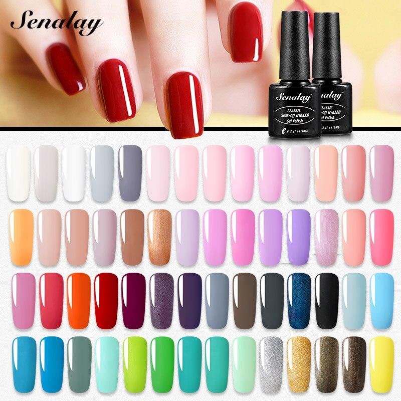 Senalay Gel Nail Polish Need Base Top Coat Semi Permanent UV LED Lamp Gel Varnishes For Nail Art Manicure Set Nail Gel Lacquer