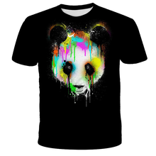 2021 Hot fashion new animal world of giant panda 3D printing men's trend short-sleeved T-shirt pattern Lovely animals streetwear