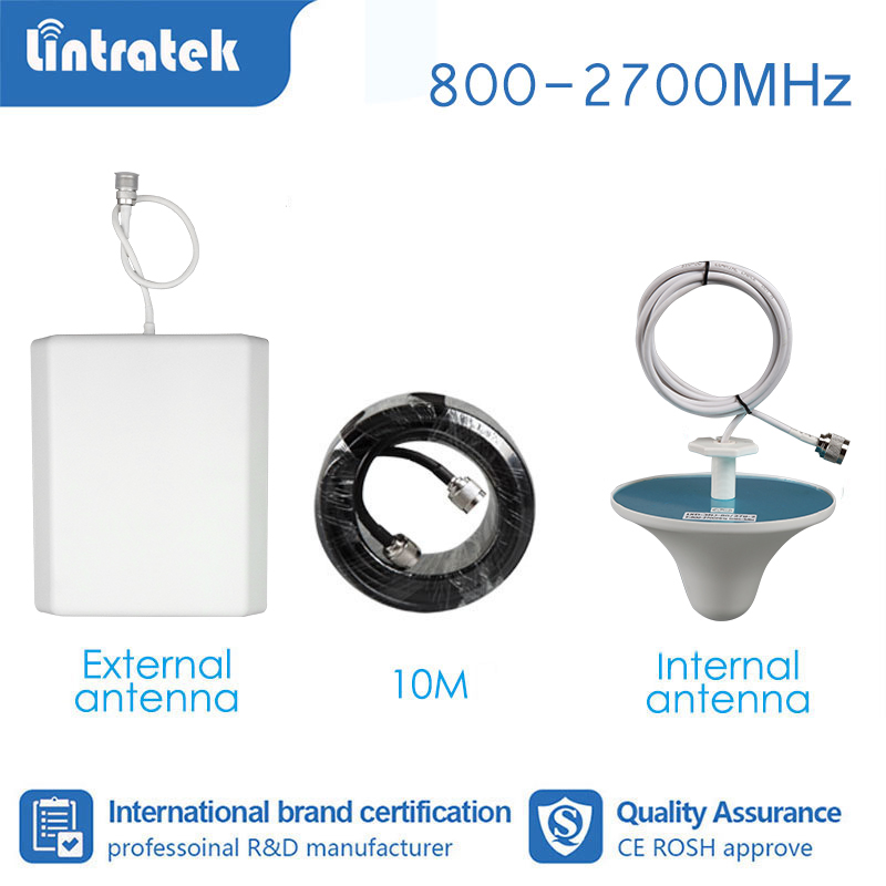 Lintratek Full Set Booster Accessories Antenna For Signal Booster Amplifier GSM 2G 3G 4G 800-2700mhz Wide Band 10m Cable  S4