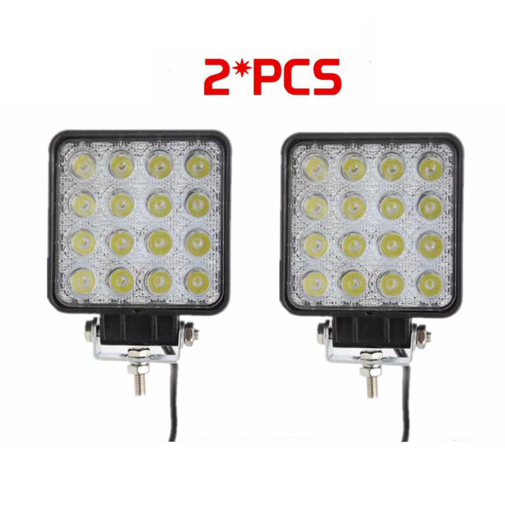 2pcs Car Truck LED Work Light 12V 24V Square Lamp Spotlight Car Headlight Offroad Truck 16-LED Work Light 6000K