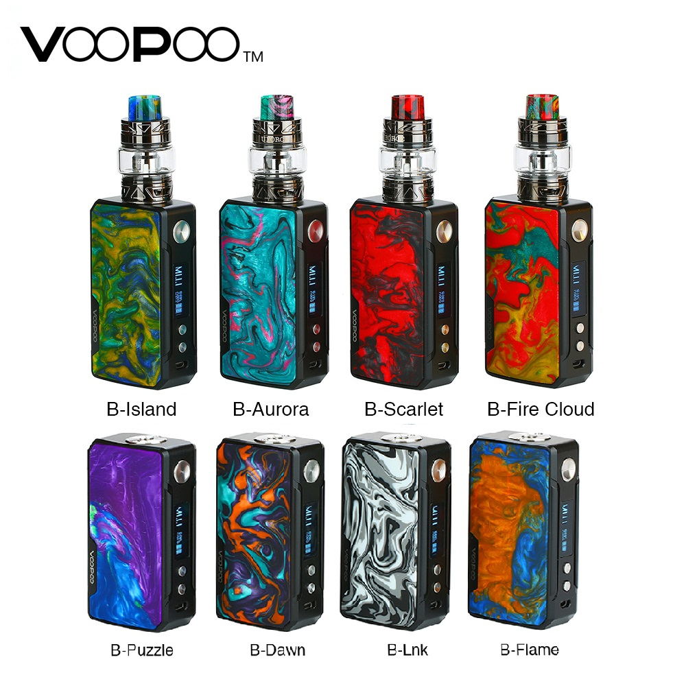 Original VOOPOO DRAG 2 177W TC Box MOD E-cigarette & 157W Drag Box Mod & Drag Kit W/ US GENE Chip No 18650 Battery Vape Box Mod
