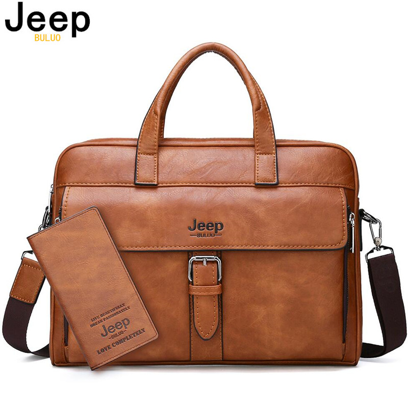 JEEP BULUO High Quality Travel Handbag For Man Split Leather 14 Inches Laptop New Men's Business Briefcase Bag Messenger Bags