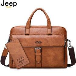JEEP BULUO Hohe Qualität Reise Handtasche Für Mann Split Leder 14 zoll Laptop Neue herren Business Aktentasche Tasche Messenger taschen