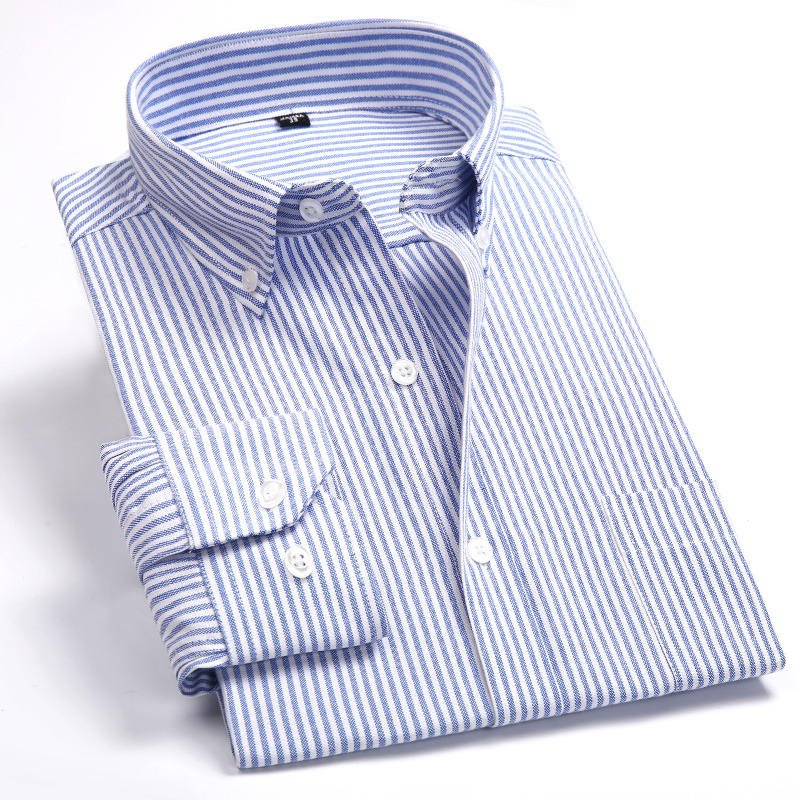 Oxford Stripe Men Casual Long Sleeved Slim Fit Shirt Soft Comfortable Spring Autumn Male Social Dress Shirt Collar Button Design