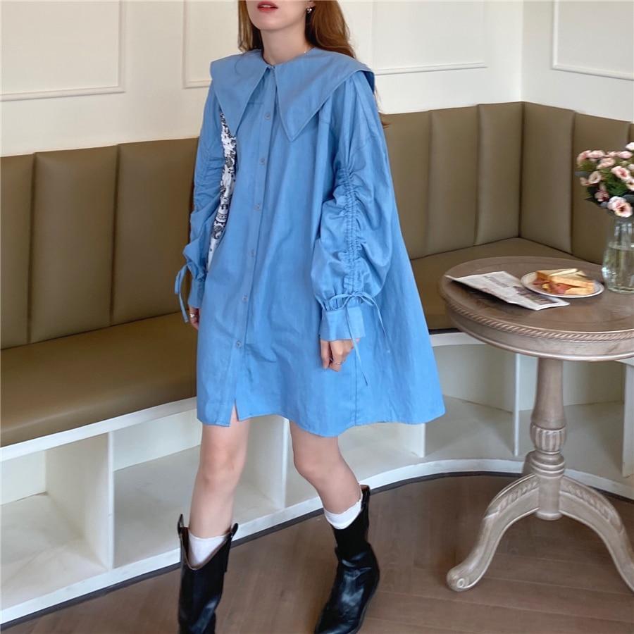 Hd44d3f0b9ca14b2bbbd0eb86207869592 - Autumn Korean Big Lapel Collar Long Sleeves Drawstrings Solid Mini Dress