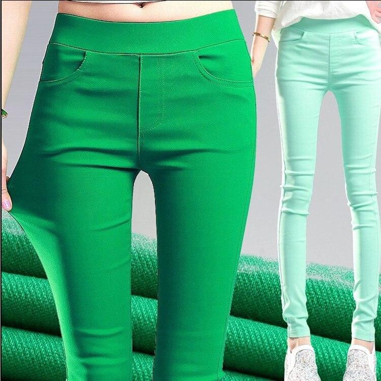 Candy Color Womens Stretch Leggings Pants High Waisted Skinny Leggings Push Up Leggins Femme  Black Green Pink White Grey Purple
