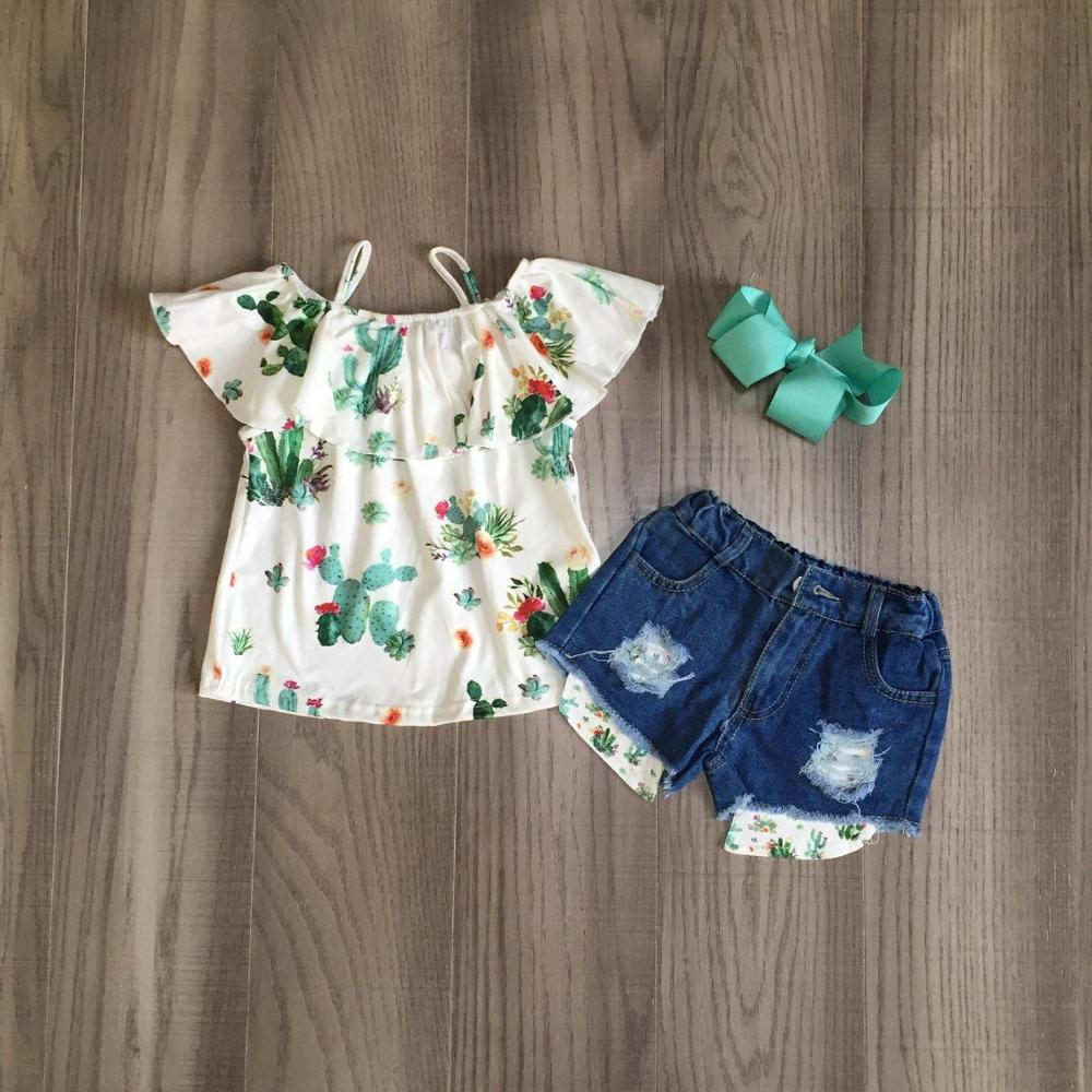 Baby Girls Summer Clothes Girls Cactus Print Top Jeans Shorts Girl Outfits With Bow