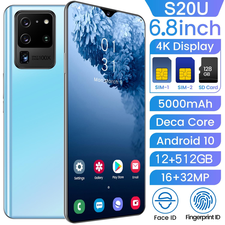 Versão global s20u 12g 512g ultra-fino celular 6.8 Polegada hd + água gota tela celular 4g/5g internet smartphones