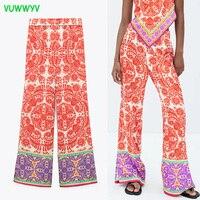 VUWWYV Za-pantalones de casa para mujer, pantalón de pierna recta de cintura alta, de verano, estampada roja, moda urbana, 2021