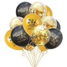 15 pçs/set Feliz Ano Novo Celebração Confetti Claras Balões De Látex Balões para Festa de Ano Novo 2021 Decoração Inflável Globos