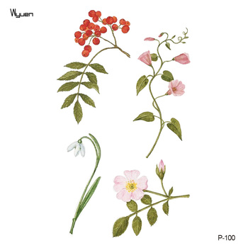 Wyuen Tree Birds Fake Tattoo Flower Temporary Tattoo Stickers for Women Men on Body Art Original Moon Waterproof Tatoos P-129 5