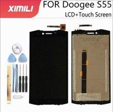 5.5 inch100 ٪ اختبار شاشة الكريستال السائل شاشة ل Doogee S55 شاشة الكريستال السائل مع شاشة تعمل باللمس الجمعية كاملة ل Doogee S55Lite + أدوات