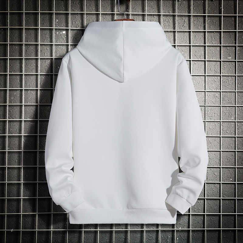 Erkekler Hoodie 5XL 6XL 7XL 8XL Kapüşonlu Sweatshirt Erkekler Siyah 2020 Bahar Sonbahar rahat Düz Renk Kazaklar Uzun Kollu Hoody Streetwear Artı Boyutu Hip Hop Boy Büyük Boy Moda Slim Fit beyaz