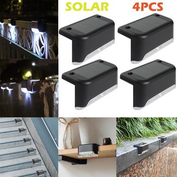 4 sztuk LED Solar Path oświetlenie schodów zewnętrzna kinkiet ogród ogrodzenie podwórka krajobraz na ścianę lampa energooszczędne podjazd ogrodzenia światła tanie i dobre opinie ISHOWTIENDA Aluminium Pieczenia solar lamp Outdoor Light Ip33 5 5 V 1 year ART DECO Żarówki led Awaryjne 2g11 Poliwęglan