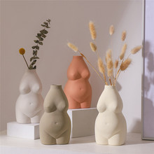 Vases Desk-Ornaments Decorative Porcelain Flower-Base Insert Ceramics Body-Shape Craft