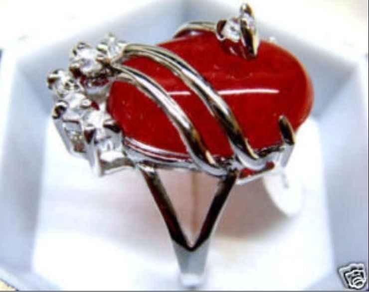 Beautiful & charmming สีแดงแหวนหยก 18KGP (#7 8 9)
