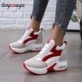 Кроссовки женские на платформе, дышащие, увеличивающие рост, обувь для тренировок