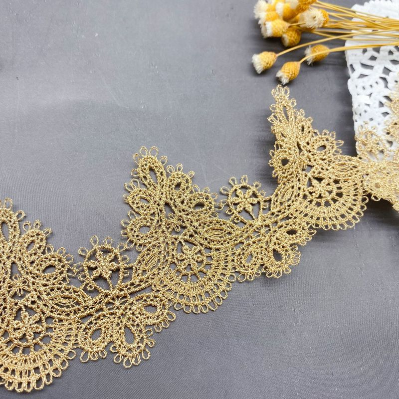 1Yard High Quality Lace Fabric Embroidery Gold Lace Fabric 5.8cm Ribbon Sewing Trimmings Ribbon Lace Collar encaje dentelle LP32