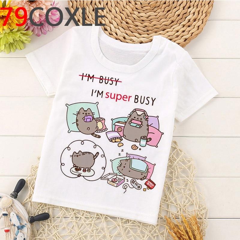 Kawaii Pusheen T Shirt Kids Summer Top Cartoon T-shirt Boys/girls Short Sleeve Casual Tshirt Funny Cat Graphic Tshirt Children