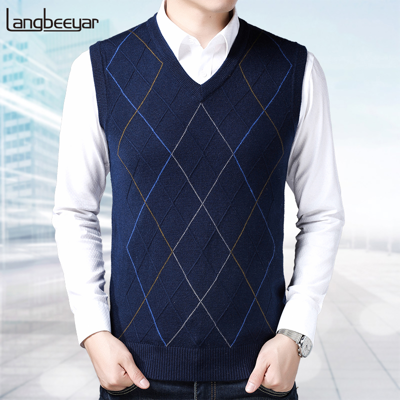New Fashion Brand Sweater For Mens Pullovers Vest Slim Fit Jumpers Knitwear Sleeveless Winter Korean Style Casual Mens Clothes
