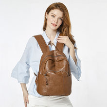Fashion Women Backpack Genuine Leather School Bag Girls Shoulder Bags Ladies Daily Purse Laptop Backpack Bag Female mochila C628(China)
