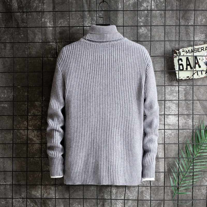 Winter Warm Turtleneck Sweater Men Fashion Solid Knitted Mens Sweaters 2019 Casual Male Slim Fit Pullover Clothing Man New Tops