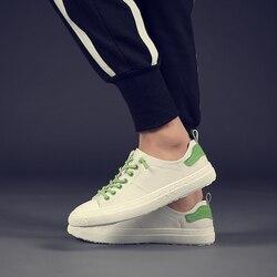 LIAOCHI 2019 nuevos zapatos blancos masculinos cuero auténtico versión coreana tendencia salvaje aumento casual transpirable zapatos blancos otoño