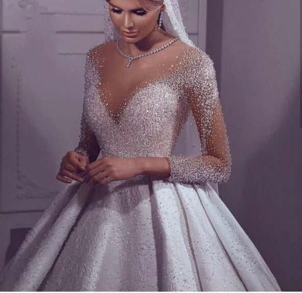 Luxury Vestidos Beaded Crystals Arabic Wedding Dress 2020 Long Sleeves Dubai Wedding Gowns Floor Length Robe De Mariee