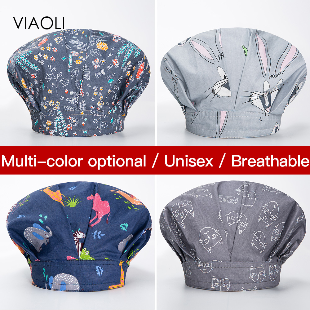 Viaoli Unisex Chef Hat Kitchen Sanitation Cap Canteen Restaurant Printing Food Service Bakery Work Hat Female Baking Ventilation
