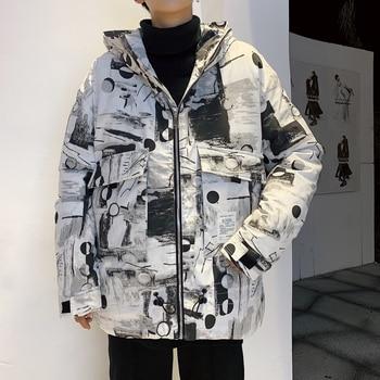Winter Jacket Men's Warm Fashion Parka Men Printing Hooded Coat Mens Streetwear Wild Cotton Thick Jacket Male Clothes M-2XL