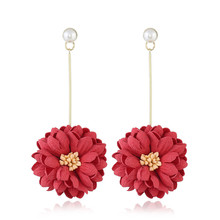 hot sale fresh temperament chrysanthemum earrings with fabric flower pendant fashion for women