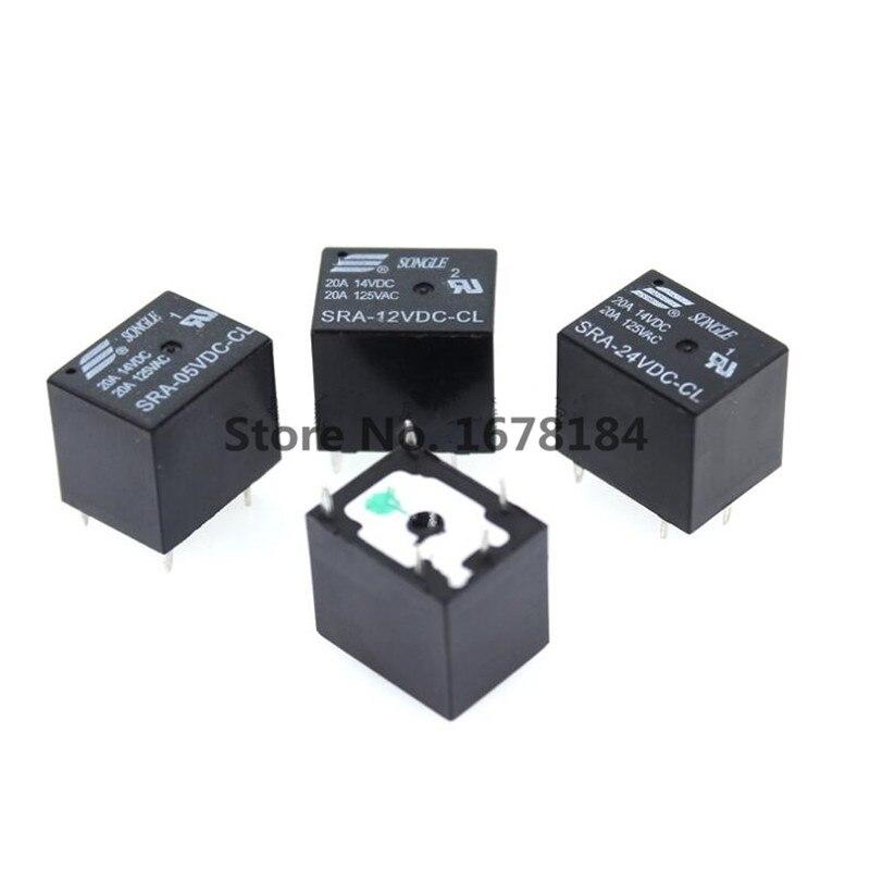 100 шт 5 В, 12 В, 24 В постоянного тока, 20A DC Мощность реле SRA-05VDC-CL SRA-12VDC-CL SRA-24VDC-CL 5Pin PCB Тип в наличии ЧЕРНЫЙ автомобильное реле