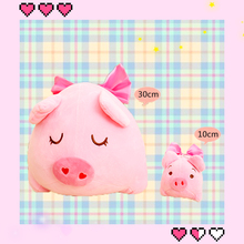 10/30cm Cartoon Animals Plush Pig Toy Pink Stuffed with Bow Decor Soft PP Cotton Dolls Cushion Kids Girls Cuddly Bed Pillow