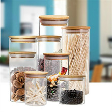Kitchen Storage Container Glass Jars Sealed Pot Cylinder Food Storage Bottle With Bamboo Lids Tea Canister Dried Fruit Candy Jar недорого